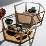 六角形=ヘキサゴンスタイルでありながら軽やかな印象のLT-69 ガラストップ リビングテーブル